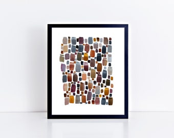 River Stones - Abstract Watercolor Painting, Art, Home Decor, Print