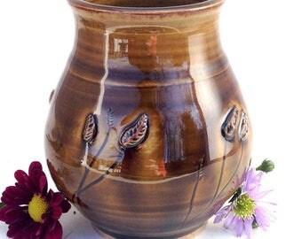 Glossy Brown Ceramic Prairie Vase