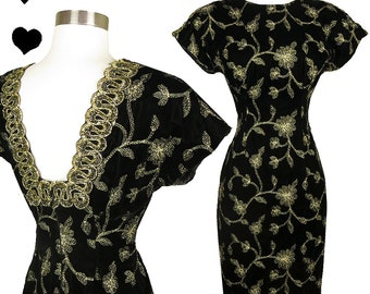 Vintage 80s Dress // Black Velvet Gold Embroidery Cocktail Dress S Square Back Metallic Embroidered Sheath Wiggle Party Prom Floral