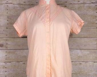 Vintage Peach Embroidered Short Sleeve Blouse Misses S Shakti
