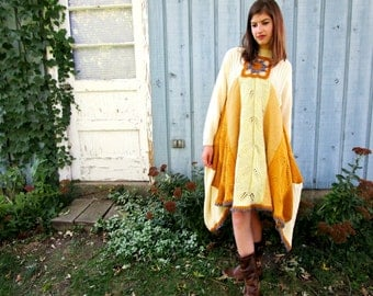OOAK Buttercream Trapeze Sweater Knit Dress// Altered Clothing// Reconstructed Dress// Yellow