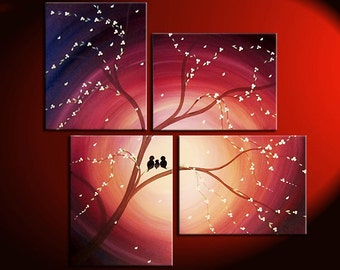 Love Birds Family Painting Cherry Blossoms and Lovebirds Original Wall Art Home Decor Rusty Color Personalize Custom 47x41