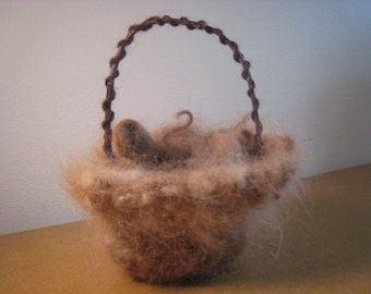 Basket Handspun Alpaca, My Farm Fibers, Mulberry Branch Handle, Minature Basket Knit, 6-inches Tall 5-1/2-inches Wide, Stuffed with Alpaca