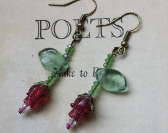 Handmade Lampwork Red Rose Earrings