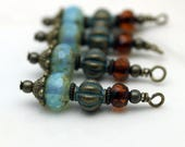 Blue Picasso Firepolished Czech, Brass Patina Melon Beads and Czech Bead Dangle, Earring Dangle Charm Drop Set