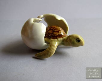 Green Brown Baby Turtle Egg Ceramic Figurine,Turtle Figurine Collector,Turtle Porcelain Figurine,Turtle Animal Figurine,Miniature,Birth II