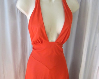Vintage 70s Miss Dior halter maxi dress in tomatoe red small/med
