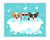 275D Wine Art - Pembroke Corgi with Wine Glasses Wall Art - Toasting Wine Glasses Print - Corgi Print - Corgi Art - Bath Art - Wine Print