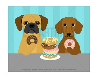 213D Dog Print - Puggle and Dachshund Eating Donuts Wall Art - Puggle Wall Art - Puggle Print - Donut Art -  Dachshund Print - Dotson Print