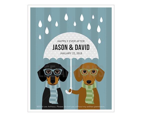 226P Custom Dog Art - Happily Ever After Dachshund Wall Art - Mr and Mr Gift - Groom Loves Groom Art - Black and Tan Dog Dachshund Print