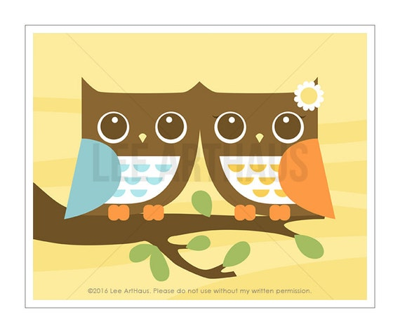 17A Owl Wall Art - Owls in Love Wall Art - Woodland Owl Print - Anniversary Gift - Owl Print - Woodland Art - Owl Art - Woodland Print