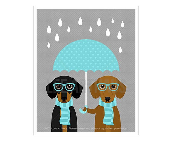 210D Dotson Dog Art Prints - Two Dachshunds Holding Blue Umbrella Wall Art - Dachshund Print - Umbrella Print - Modern Nursery Wall Art