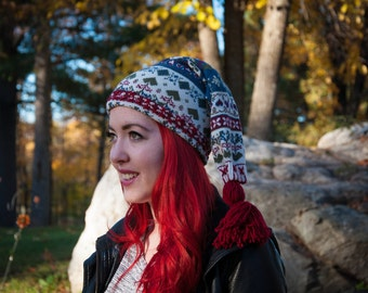 Long winter hat,red/cream/blue winter hat,long winter tuque,sweater tuque,women,men,teen,unisex winter hat,eco friendly,ready to ship,