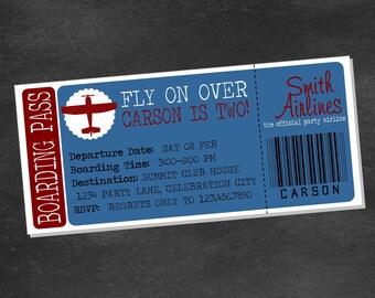 Airplane Birthday Party Invite (printable digital file)