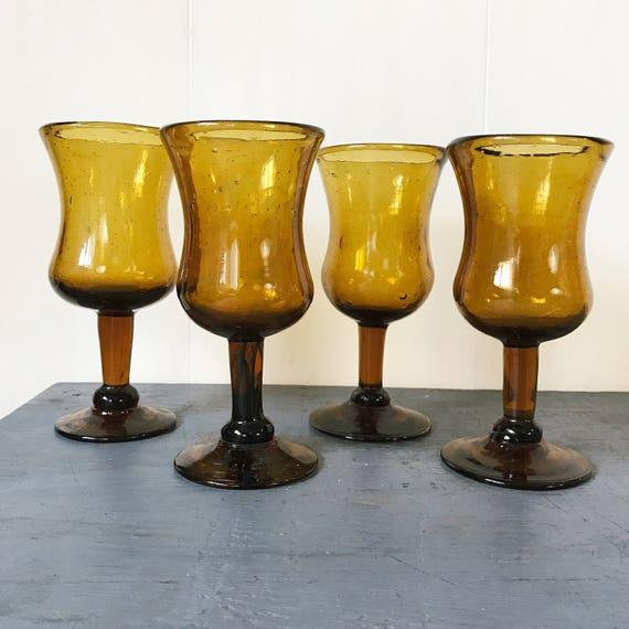 vintage glasses - brown wine goblets - jewel tone barware - boho wedding decor - 4 pieces