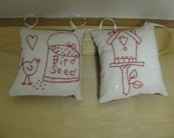 2 Hand Embroidery Redwork Christmas Ornaments, ornies, bowl fillers, gifts FREE Shipping