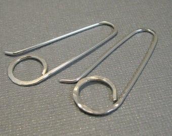 Artisan sterling silver long ring hoops, hammered sterling silver ring hoops with self closure, boho hoop earrings