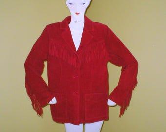 Vintage Leather Suede Jacket Denim & Co Western Fringe Size Small