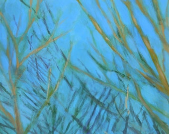 Golden Branches, December Sky - original fine art painting by Irene Stapleford - wantknot shop