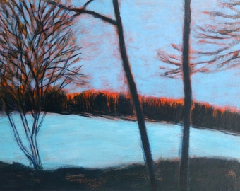 Snowy Sunset, Lincoln, MA - original fine art painting by Irene Stapleford - wantknot shop