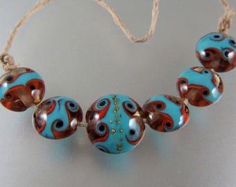 Lampwork Beads-Glass Beads-Pair-Lentil-South West-Swirl Beads-Lampwork-Artisan-Handmade-Bead-Lentil Beads-Glass Beads-Lampwork Glass Beads