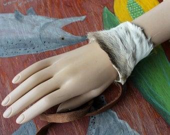 Fur bracelet - Real vintage deer fur bracelet or anklet with leather straps  for neotribal costume and festival wear