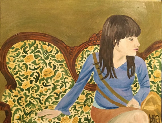 Erin on a Settee original oil painting
