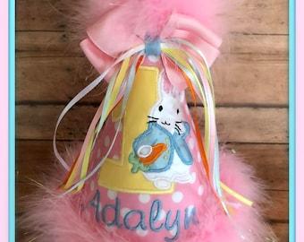 Bunny Birthday Hat, Easter Bunny Birthday Hat, Bunny Rabbit Birthday Hat, Easter Bunny 2nd Birthday Hat, Easter Birthday Hat, GINGHAM BUNNY