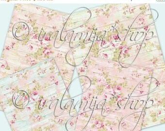 SALE SHABBY and FLORAL backgrounds Collage Digital Images -printable download file-