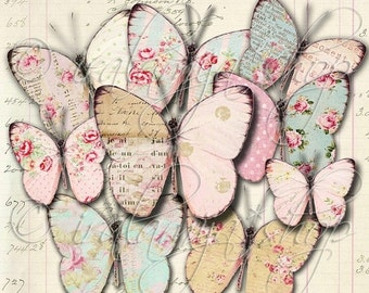 SALE SHABBY BUTTERFLIES Collage Digital Images -printable download file-