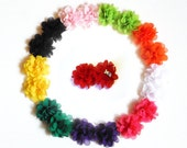 SALE Chiffon Flower Shoe Clips - light pink, apple green, orange, white, hot pink, purple, green, yellow, black