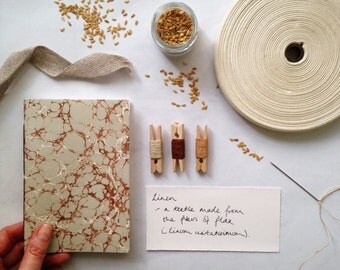 Vintage Marbled Notebooks: Eau de Nil and Brown with Mohawk Superfine. Pretty, feminine journal, jotter, desk accessory ships worldwide