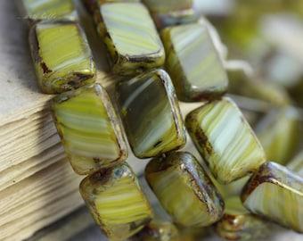 GREEN ZEBRAS .. 15 Picasso Czech Glass Rectangle Beads 12x8.5mm (B1028-st)