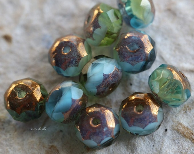 GILDED LUSH MEADOW .. 10 Premium Picasso Czech Glass Rondelle Beads 5x7mm (5497-10)