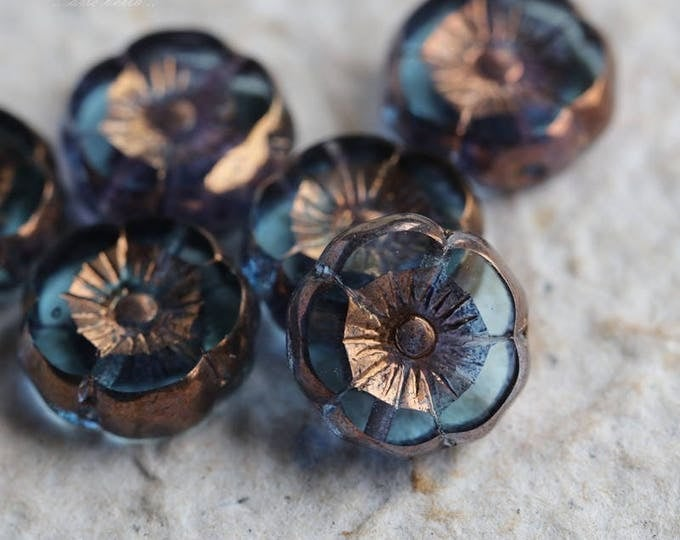 PRINCELY PANSIES No. 2 .. NEW 6 Picasso Czech Glass Flower Beads 12mm (5760-6)