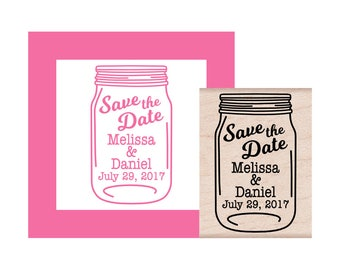 NEW for 2017 Save the Date Mason Jar Personalized Rubber Stamp