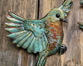 Bluebird - brass metal flying songbird art sculpture - wall hanging - turquoise blue-green and iridescent red-orange patinas - OOAK