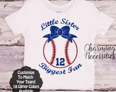 Baseball Sister Shirt, Fan, Toddler Girl Clothes, Baby Girl Outfits, Little Sister Biggest Fan with Bow Custom Personalized
