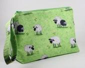 Sheep Knitting Project Bag - Black Sheep Sock Project Bag - Zippered Project Bag - Crochet Project Bag - Wedge Bag