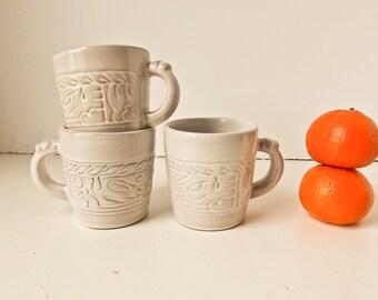 Coffee Mugs, Coffee Cups, Tea Cups, Frankoma Pottery, White Mug Set, Vintage White Mugs