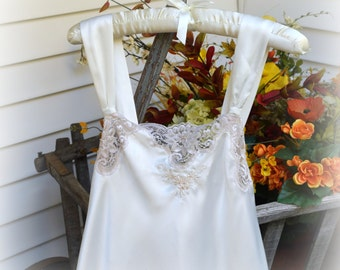 Long Satin Nightgown with Lace and Beading Bridal Slip Wide Straps Cream and Beige Etienne Brand  Size Small Evening Gown