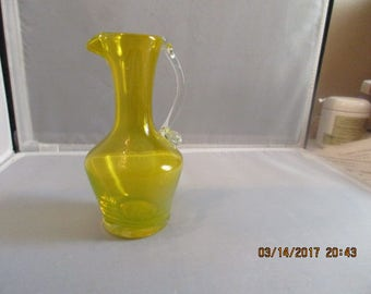 Bright Yellow MINI PITCHER, Art Glass, BLENKO, Viking, Pilgram