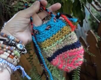 Crochet pouch, Hippie pouch, medicine bag, crochet pouch necklace, medicine bag neckace, hippie festival,  festival bag, hippie crochet