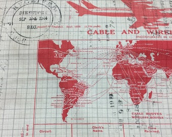Tim Holtz Fabric by the Yard - Correspondence II - Jet Setter in Red -Quilter's Cotton