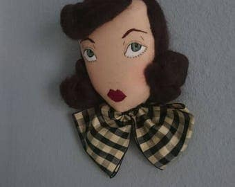 Jean with an Antique Silk Bow -Doll Face Wall Hanging