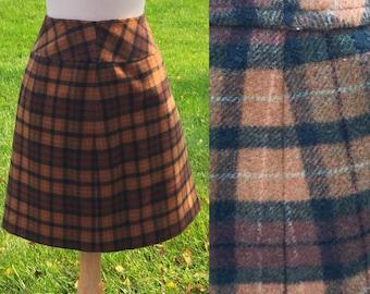 Vintage 90s Brown Black Plaid Mini Skirt 28 Waist