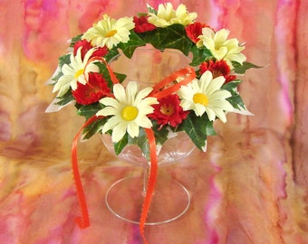 Doll Flower Crown American Girl Doll Yellow and Orange Crown 18 Inch Doll Crown Daisy and Poppy Flower Doll Crown Am Girl Doll Flower Crown