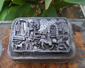 Unicorn In Capture /Rectangular Tin and Pewter Utility Box /  Designs By Metzke / The Last Unicorn Keepsake Box / Vanity Dresser Box