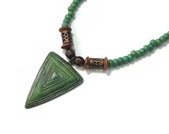 Hand painted tribal triangle pendant in double chain