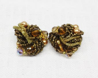 50s 60s Vintage Brown and Gold Beaded Cluster Earrings Clip On Style